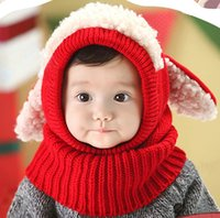 Wholesale Winter Cute Siamese Baby Hat Puppy Style Thicken Warm Hooded Scarf Earflap Knit Cap Toddler for Baby Kids order lt no track