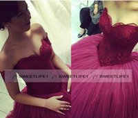 big apple cap - 2016 Glamorous Big Ball Gown Quinceanera Prom Dresses Burgundy Off Shoulder Floor length Lace Elegant Prom Gowns Custom Made Ruffles