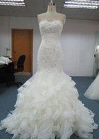 Cheap backless wedding dress mermaid ruffles Best bridal gowns mermaid trumpet