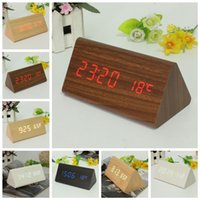 Wholesale New colors Wood Wooden Digital LED Alarm Clock Triangular Table Desk Display Temp Time order lt no tracking