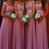 Cheap Real Image Pink Chiffon Bridesmaid Dresses Beaded Sequins 2015 Ruched Sweetheart A-line Floor-length Ball Long Party Gowns Prom Dresses