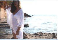 white bikini swimwear - 2015 White Chiffon Lace Edged Loose Women Clothing Summer Beach Smock on Bikini Summer Sun proof Swimwear Batwing Cover Up Dress OXL070306