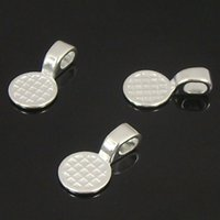 Wholesale 20PCS Silver Plated Necklace Bails Alloy Jewelry Round Glue on Bail Finding x24mm