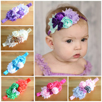 Wholesale 2015 Baby Girl Dual Rose Flower Headband Super elastic Sequins bow Childrens Hair Accessories Girls Headdress Dual shabby Princess headbands