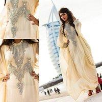 beautiful abayas - 2015 Elegant Dubai Abaya Evening Dresses High Neck Chiffon Long Sleeves Beaded Crystal Ankle Length Beautiful Formal Celebrity Gowns New