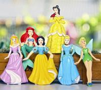 big ariel - 6pcs set Big Size Mermaid figure set snow white doll pvc figures Princess Ariel Belle Cartoon PVC Action Figure wedding decoration gifts