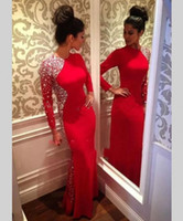 bandages sleeve designs - New Design Long Sleeve Evening Dresses Red Sheath High Neck Beading Crystals Chiffon Floor Length Women Pageant Party Dress Prom Gowns