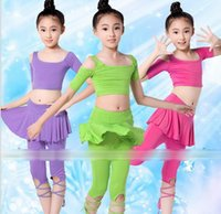 Wholesale Hotsale Latin Dance Yoga Training Short Sleeve Ruffle Lace Up Dancers Children Dancing Clothing Tshirt Skirt Pants Kids Tee Shirts Pantskirt