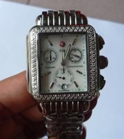 Unisex michele watch - Top Grade Diamond Signature Deco Dial wristwatch michele deco watch analog Chronograph Calendar Silvery Stainless Steel Real Mother Of Pearl