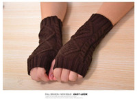 Wholesale Limited Sleeve Fashion Lovely Winter Woman rhombus Home Half Finger Gloves Knitted Fingerless Gloves Arm Warm Outdoor Cycling