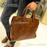 Wholesale High Quality PU Leather Bag Men Briefcase Leisure Handbag Men Shoulder Bag Tote Business Casual Tote for Tablet PC AP172 smileseller