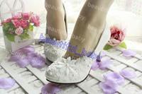 Wholesale 3CM CM CM CM women s spring and summer wedding shoes white lace pearl wedding shoes bride bridesmaid shoes