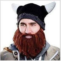 2016 nuevo invierno unisex Hombres Niños Barba Gorra Beanie cráneo barbudo Caps sombreros hechos punto del Cuerno Vikings punto Hat esquí del calentador del cráneo del sombrero de la bici