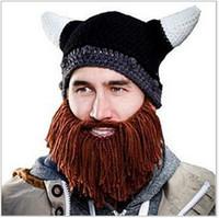 animal bike horn - 2016 winter new Unisex Men Children Beard Cap Hats Beanie Skull Caps Bearded Knitted Hats Vikings Horn Knitted Hat Warmer Ski Bike Skull Hat