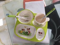 Wholesale Kids Preferred Baby Dumbo Melamine Set children s cups dishes baby feeding bowl fork spoon cups dishes set