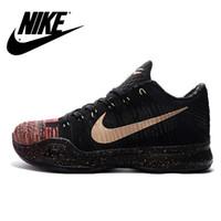 Nike Kobe 10 Zapatos X Elite Low Flyknit de Navidad Navidad con 5 anillos de campeones de baloncesto Zapatos Negro Nike zapatillas de deporte los hombres del deporte 41-46