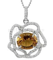 Cheap Citrine necklace pendant Natural real citrine 925 sterling silver Free shipping Fine yellow gemstone jewelry DH#15070620