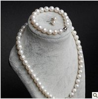 Wholesale 9 mm AAA Akoya Natural White Pearls Necklace Bracelet earrings SET