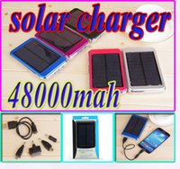 Wholesale 48000mah High Capacity Dual USB Charging Ports V A W Solar Panel Charger mah Travel Power bank Battery for iPhone Samsung HTC