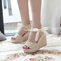 high heel open toe shoes - Hot sale Summer wedges sandals female shoes women platform shoes lace belt bow flat open toe high heeled shoes