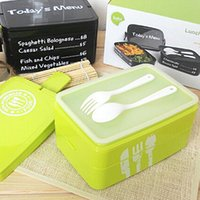 plastic lunch box - Wholesales Portable Lunch Box Large Capacity Microwave Oven Bento Box with Fork Spoon Eco friendly Food Container JH0017 salebags