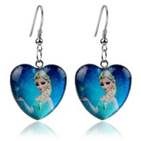 Wholesale Cartoon Frozen Earrings Frozen Anna Elsa Princess Heart glass earring Fashion frozen children jewelry High quality