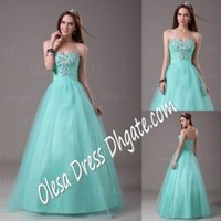 Wholesale Sweet Dresses Sexy Sweetheart Bal Gown Floor Long Pleat Crystal Beads Tulle Aqua Formal Ball Lily Prom Dress Beautiful Quinceanera Dress