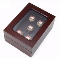 jewelry ring display - 5 Holes New Championship Rings Box Punk Style Jewelry Display Box Red Wooden Jewelry Box For Ring Display
