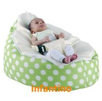 Wholesale New design lovely cute OEM polyester seat outdoor baby bean bag green polka