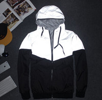 zipper hooded jacket - Men Jacket Autumn Patchwork Reflective m Jacket Sport Hip Hop Outdoor Waterproof Windbreaker Men Coat Trend Brand