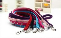 Wholesale 6 colors fashion pet dog leash cats Leashes Small Adjustable Flocking cloth Diamond decoration pet Products Supplies high quality crystal