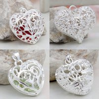 Wholesale 2015 Bulk Charms Heart Jewelry Findings Accessories Charming Sterling Silver Necklace Pendant Mix Styles Choose SD50