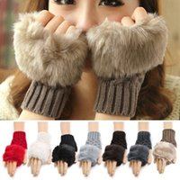ladies gloves - Hot Sales Women Lady Fingerless Gloves Faux Rabbit Fur Hand Wrist Knitted Winter Warmer AX35