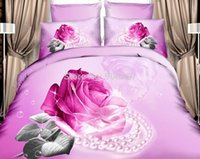 Cheap romantic orchid rose flower necklace print bedding set for girls home decor cotton queen full size quilt duvet covers bedspread