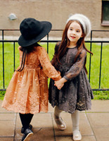 winter long sleeves dress - Autumn winter new girls princess dress kids Lace embroidered dress children Thicken long sleeve tulle dress kid clothes gray orange A7917