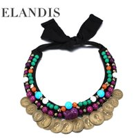 Wholesale Golden COINS Drop Crystal Exaggerated rope chain Sweater chain necklaces pendants ELANDIS brand accessories NL12185