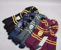 Wholesale PrettyBaby Fashion Harry Potter Scarves Ravenclaw Scarf Accessories Gryffindor Scarf Magic School Slytherin Scarves Knitted Stripe Scarf