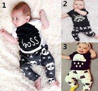 Boy baby panda outfit - 2016 New Baby Boy Summer Sets Kids Panda Clouds T shirts Pants Fashion Outfits Y TZ919
