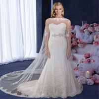 Wholesale New Arrival Wedding Jackets Bridal Wraps Coat Handmade Tulle Lace Applique Edge Cloak White ivory Bolero Wraps Custom Made EN7175