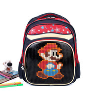 bags pixels - Kids DIY Blocks School Bag Children Pixel Puzzle Backpack Contrast Color Pack Global Popular Schoolbag Unique Style