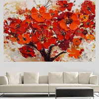 Wholesale Handpainted Modern Abstract Decorative Red Flower Oil Painting On Canvas Wall Art Paint For Living Room Picture No frame
