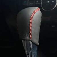accessories nissan sentra - Case for Nissan Tiida Sentra Sylphys Automatic Gear Shift Knob Cover Hand stitched Genuine Leather DIY gear covers leather accessories