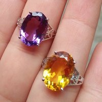 Cheap 925 Sterling Silver natural citrine   amethyst ring