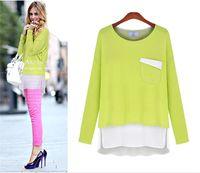 blouse free size - Elegant Woman Base Shirt Autumn Spring Full Sleeve Patchwork Loose Casual Blouse T Shirt Plus Size W4157