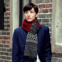 Wholesale Wholesales Men Winter Kintting Scarf Patchworks Long Thickening Multi color Scarves Shawl Wrap Casual Outdoor Sacrf YG0051 Smileseller