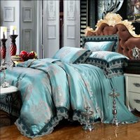 Wholesale Green Jacquard satin bedding set Queen King size Noble bed set linen tribute silk duvet cover bedsheet bedclothes Luxury