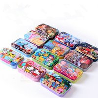 Wholesale hot sale beautiful kids girl boy top wooden puzzles iron box style for choose children birthday gift