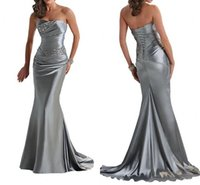 purple dresses - 2015 IN STOCK Cheap Evening Dresses Mermaid Sexy Backless Lace Up Beading Gray Silver Purple Bridesmaid Dress Prom Wedding Party Dress Gowns