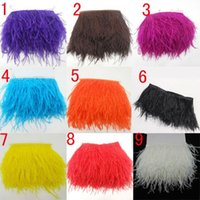 Wholesale 2Meters quot White black Trim Ostrich Fringe fluffy ostrich plumes feather feathers centerpieces wedding