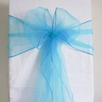 aqua chair covers - 50 Aqua Blue Organza Chair Sash Cover Bow Wedding Party Banquet Shimmering High Quality Brand New SASH